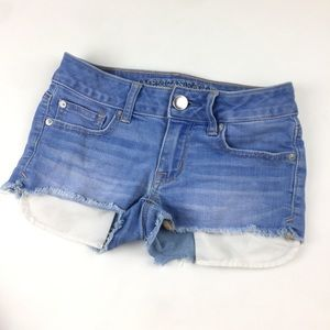 AE Light Wash Cut Off Shortie Stretch Jean Shorts